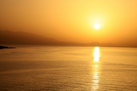 Sunset at Crete island, Greece photo