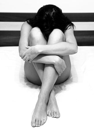 depressive: Depressive girl at the bed