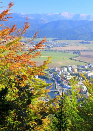 Town Ruzomberok from hill Cebrat, Slovakia photo