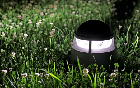 Lamp at night in grass
