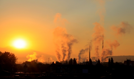 Air pollution  factory Mondi in city Ruzomberok, Slovakia   photo