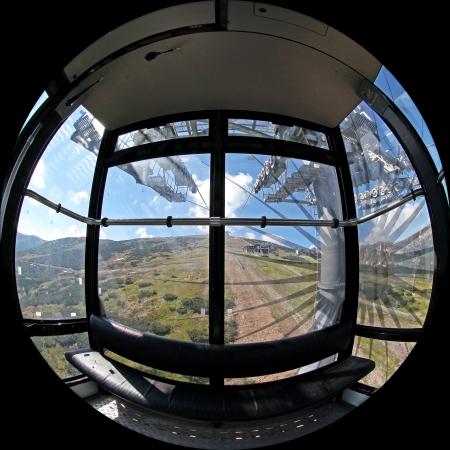transportaion: Inside ropeway Funitel in Low Tatras mountains, Slovakia Stock Photo