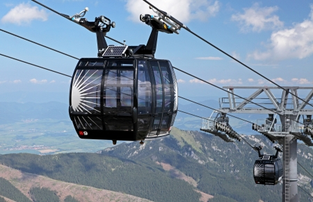 transportaion: Inside ropeway Funitel in Low Tatras mountains, Slovakia Editorial