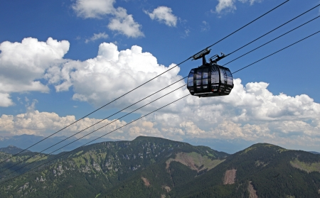 transportaion: Ropeway Funitel in Low Tatras mountains, Slovakia Editorial