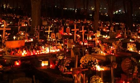 ruzomberok: RUZOMBEROK, SLOVAKIA - NOVEMBER 1  Souls day at cemetery in town Ruzomberok on November 1, 2013 in Ruzomberok
