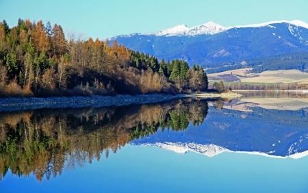 Water reflection on water basin Liptovska Mara, Slovakia