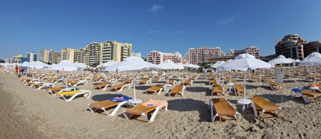 Sandy beach at Sunny beach, Bulgaria Stock Photo