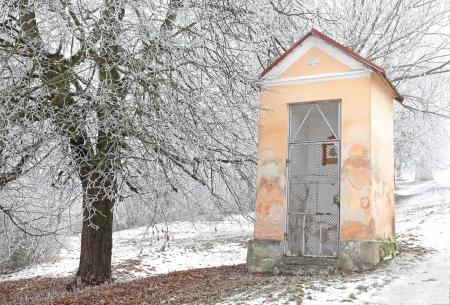 ruzomberok: Calvario y la naturaleza de invierno, Ruzomberok - Eslovaquia Foto de archivo