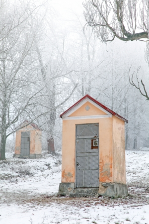 ruzomberok: Calvary and winter nature, Ruzomberok - Slovakia Stock Photo