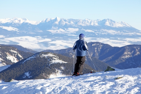 Skier on the hill Chopok in Low Tatras mountains, Slovakia