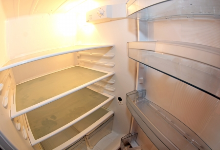 refrigerator kitchen: Inside refrigerator in the kitchen Stock Photo