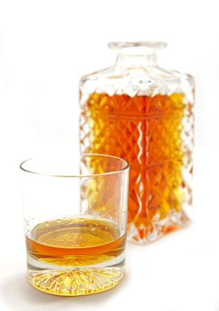 Isolated crystal whiskey glass