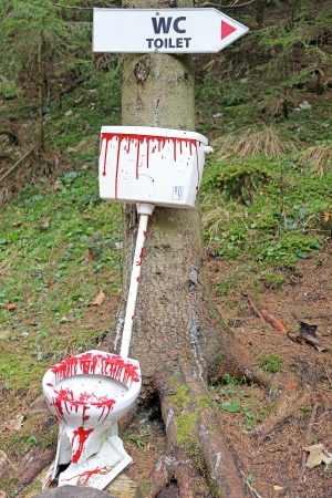carnage: Bloody toilets in the forest Stock Photo