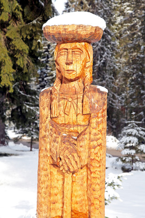 woodland sculpture: DEMANOVA, SLOVAKIA - FEBRUARY 14  Wooden statue in village Demanova on February 14, 2014 in Demanova Editorial