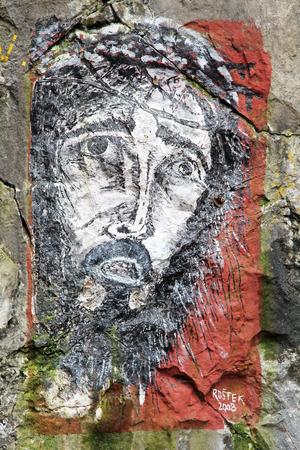 sacrosanct: Painting of Jesus at calvary near village Liskova, Slovakia