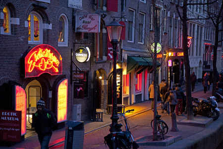 Red light district 's nachts - Amsterdam, Nederland