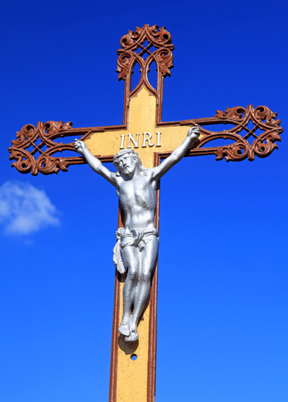 crucifiction: Jesus Christ on the cross and blue sky Stock Photo