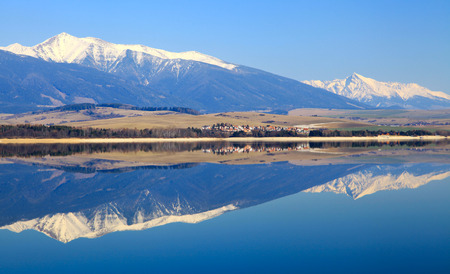 Water reflection on water basin Liptovska Mara, Slovakia photo