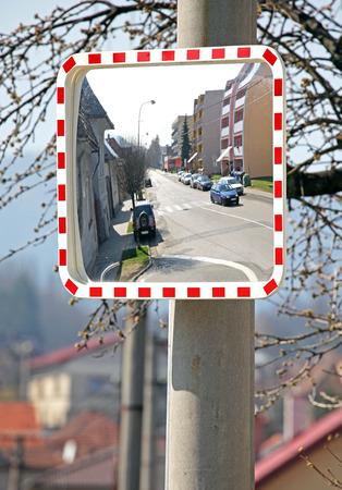 ruzomberok: Road safety mirror at town Ruzomberok, SLovakia