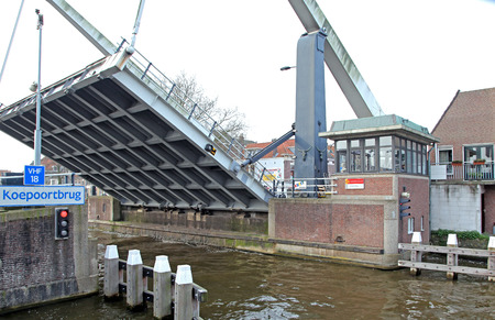 moveable: DELFT, NETHERLANDS - APRIL 2: Moveable bridge in the city Delft on April 2, 2014 in Delft Editorial
