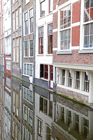 dweling: Water canal in city Delft - Netherlands