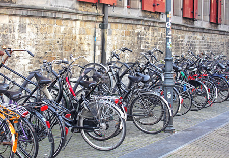 delft: DELFT, NETHERLANDS - APRIL 2: Lots of bike in Delft on April 2, 2014 in Delft Editorial