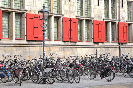 delft: Lots of bike in Delft - Netherlands Stock Photo