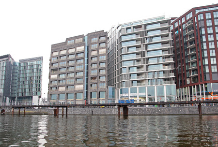 dweling: AMSTERDAM, NETHERLANDS - APRIL 3: Modern architecture in city Amsterdam on April 3, 2014 in Amsterdam Editorial