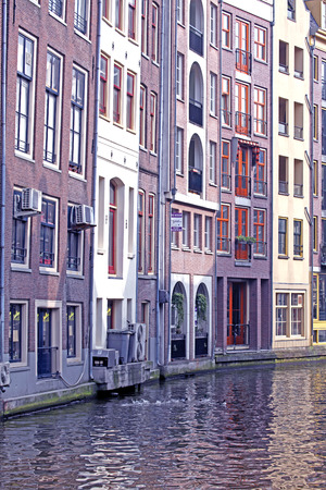 AMSTERDAM, NETHERLANDS - APRIL 3: Water canal and typical architecture in city Amsterdam on April 3, 2014 in Amsterdam