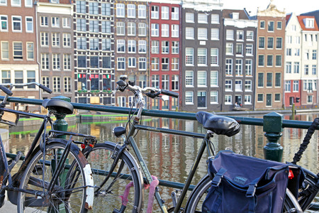 AMSTERDAM, NETHERLANDS - APRIL 3: Bicycle and typical architecture in city Amsterdam on April 3, 2014 in Amsterdam