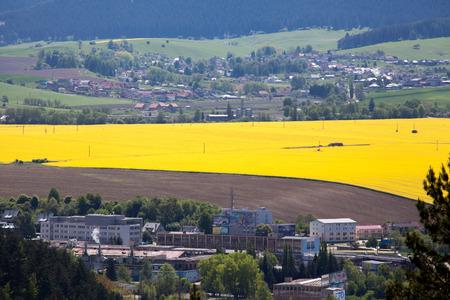 ruzomberok: RUZOMBEROK, Eslovaquia - 10 de mayo: Ciudad Ruzomberok desde la colina Cebrat el 10 de mayo de 2014 en Ruzomberok Editorial