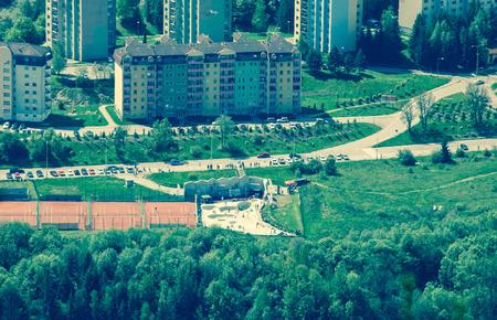 ruzomberok: RUZOMBEROK, SLOVAKIA - MAY 10: Town Ruzomberok from hill Cebrat on May 10, 2014 in Ruzomberok