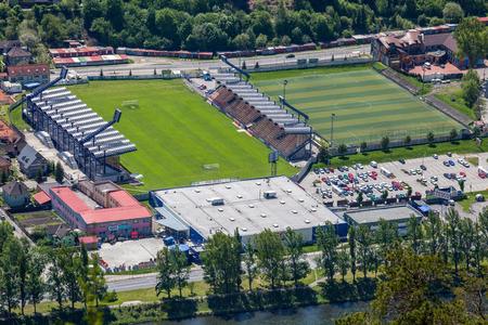 ruzomberok: RUZOMBEROK, SLOVAKIA - MAY 10: Football stadium at town Ruzomberok on May 10, 2014 in Ruzomberok