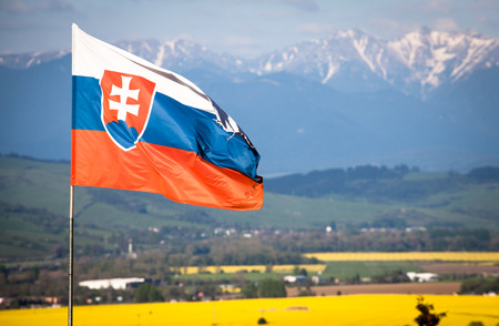 Slovak national flag in wind photo