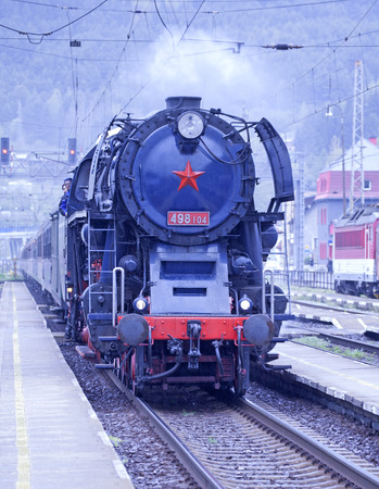 ruzomberok: RUZOMBEROK, SLOVAKIA - APRIL 25: Old steam locomotive ALBATROS at train station on April 25, 2014 in Ruzomberok Editorial
