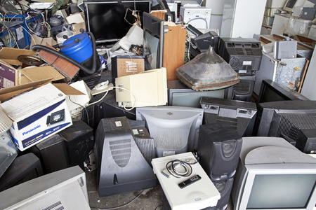 RUZOMBEROK, SLOVAKIA - APRIL 25: Electronic waste in landfill at centre of town on April 25, 2014 in Ruzomberok