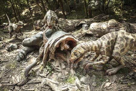 BRATISLAVA, SLOVAKIA - JUN 28: Realistic model of dinosaur Deinonychus at Dinopark on Jun 28, 2014 in Bratislava
