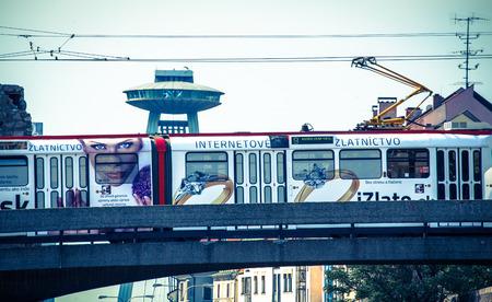 restauration: BRATISLAVA, SLOVAKIA - JUN 28: Tram in city Bratislava on Jun 28, 2014 in Bratislava Editorial