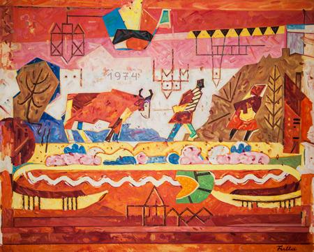 RUZOMBEROK, SLOWAKIJE - 22 juli: schilderen Fullas bij galerie van Ludovit Fulla op 22 juli 2014 in Ruzomberok Redactioneel