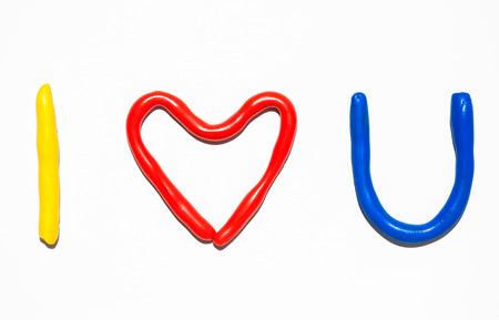 i love u: Tittle i love u plasticine Banque d'images