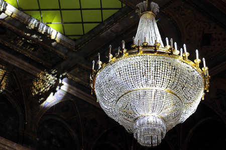lustre: The large crystal chandelier in the theatre