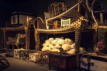 BRATISLAVA, SLOVAKIA - DECEMBER 14: Tutankhamuns tomb at the Tutankhamun exhibition on December 14, 2014 in Bratislava Editöryel