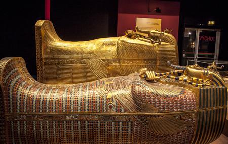 BRATISLAVA, SLOVAKIA - DECEMBER 14: Sacrophagus at Tutankhamuns tomb at the Tutankhamun exhibition on December 14, 2014 in Bratislava Editöryel