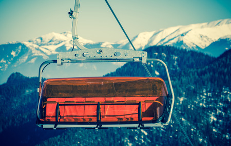 moderm: Orange cableway at Lo Tatras mountains, Slovakia