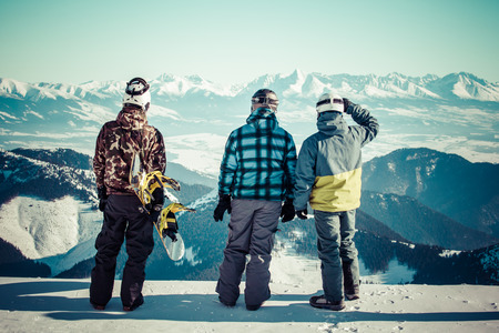 Snowboarders at hill Chopok, Slovakia Stock Photo