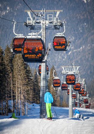 tatras tatry: JASNA, SLOVAKIA - FEBRUARY 18: Ropeway at resort Jasna at Low Tatras mountains on February 18, 2015 in Jasna