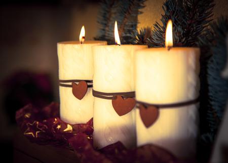 Kerst kaarsen - close-up bekijken Stockfoto