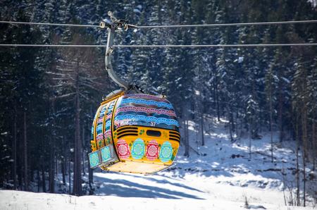 ruzomberok: RUZOMBEROK, SLOVAKIA- APRIL 4: Cableway during Easter in ski resort Malino Brdo on April 4, 2015 in Ruzomberok Editorial