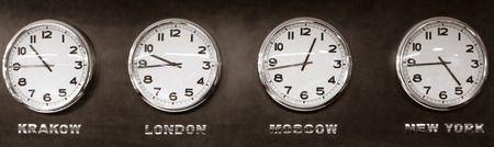 period of time: Clocks - time zone Stock Photo