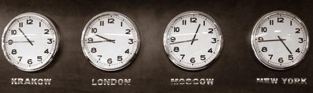 time zone: Clocks - time zone Stock Photo